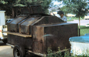 The first smoker I ever cooked on. Each side could hold up to 500 lbs of brisket! (Photo courtesy of Roy Ables)